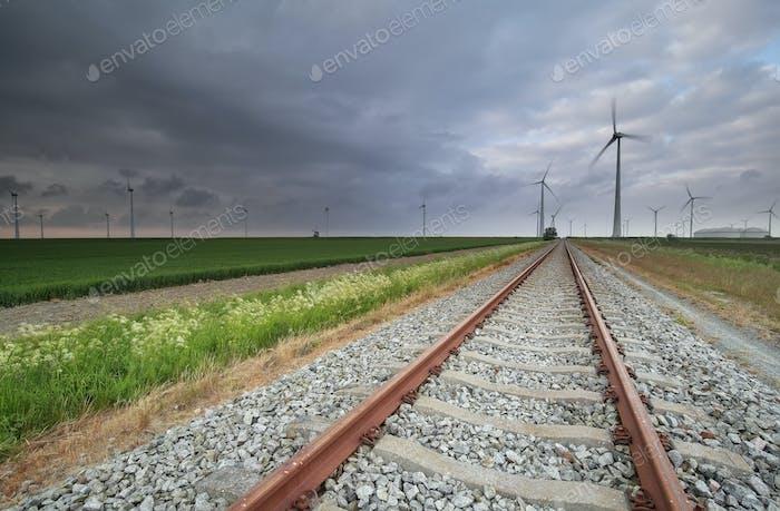 railroad in Dutch farmland
