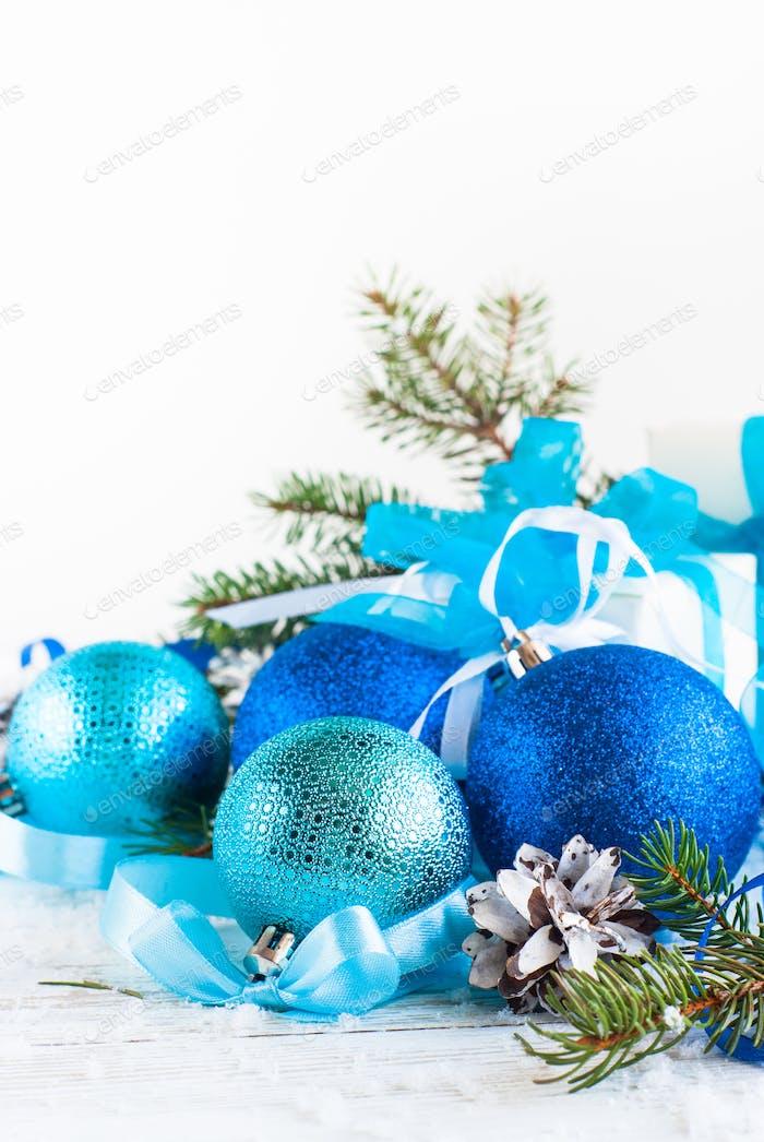 Christmas blue decorations on white. Christmas background