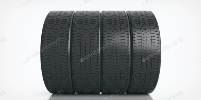 Car tires set on white background. 3d illustration