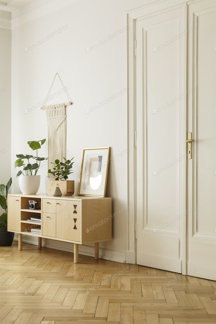 Wooden cabinet with plant and poster in white living room interi