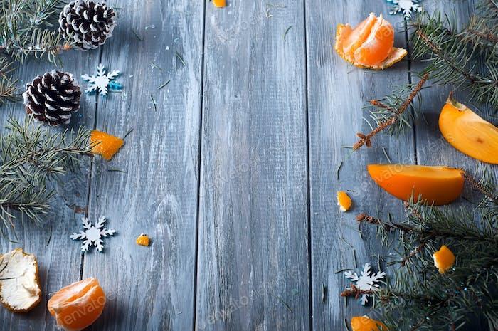 frische Persimmon Obst und Mandarine