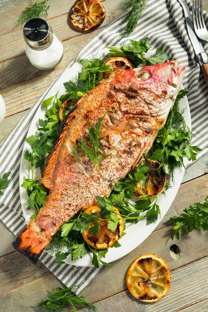 Homemade Grilled Whole Red Snapper