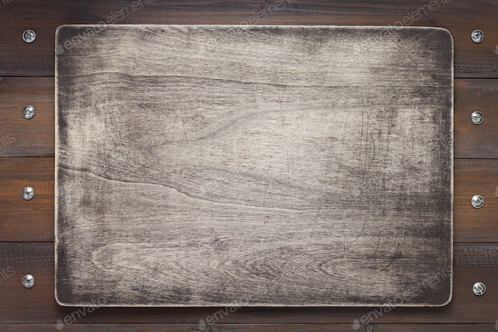 nameplate at wooden background texture