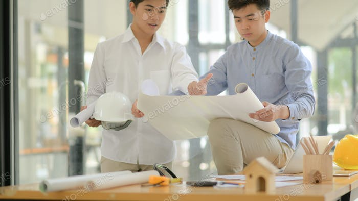Architects and engineers inspect plans and consult for design and construction planning.