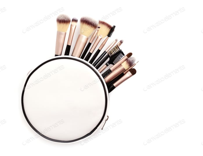 Set of essential professional make-up brushes and cosmetic bag i