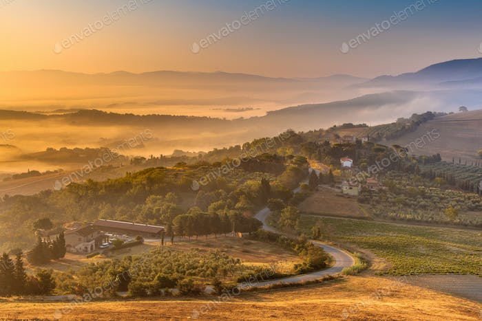 Morning Fog over Tuscan Countryside
