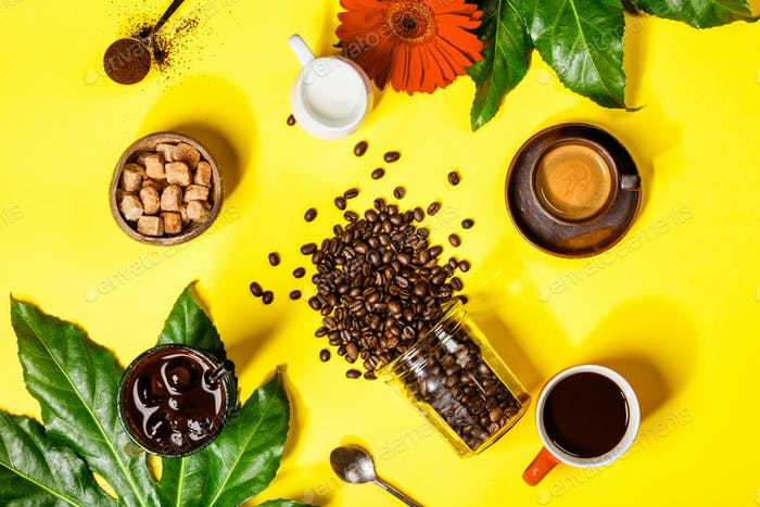 Various coffee on yellow background