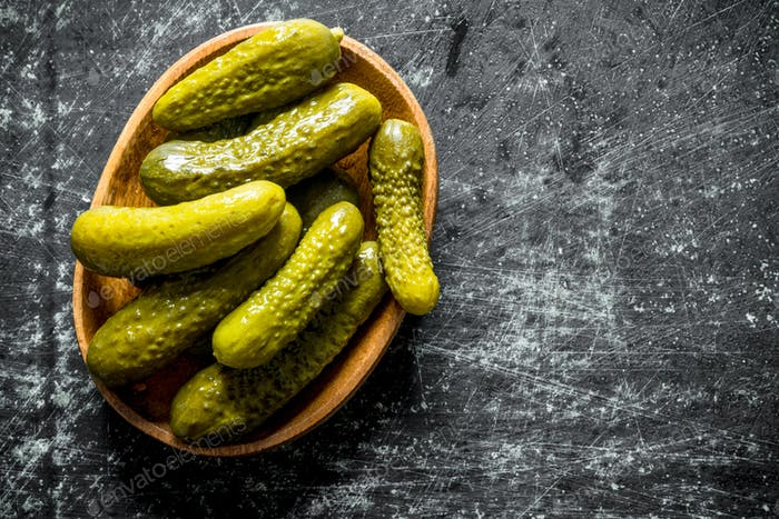 Homemade pickled cucumbers.