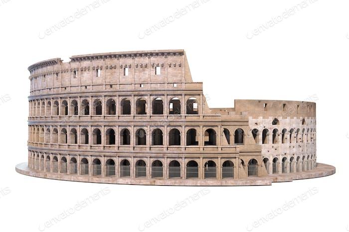 Kolosseum, Kolosseum isoliert auf weiß. Architektur- und Geschichtsschreibung
