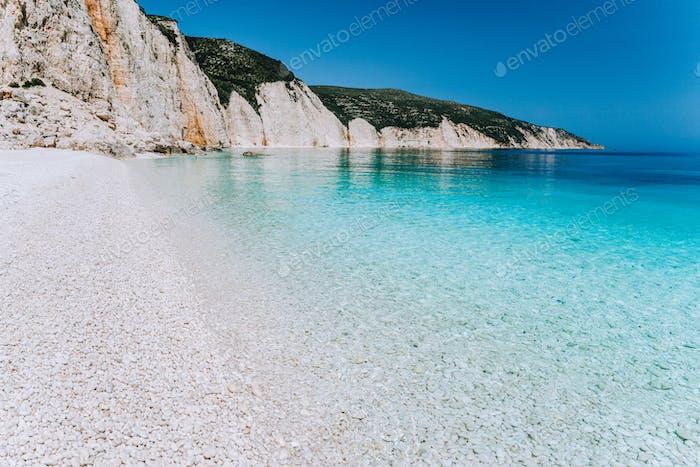 Fteri beach in Kefalonia Island, Greece. Most beautiful beach with pure azure emerald sea water