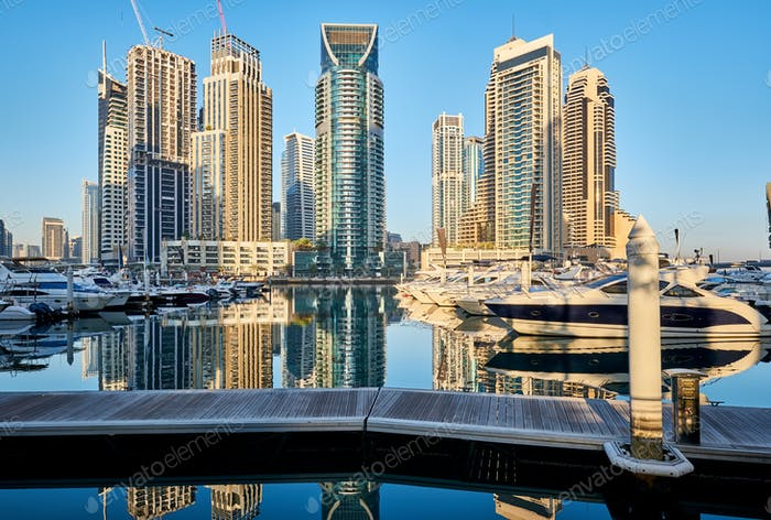 Dubai marina skyline in United Arab Emirates