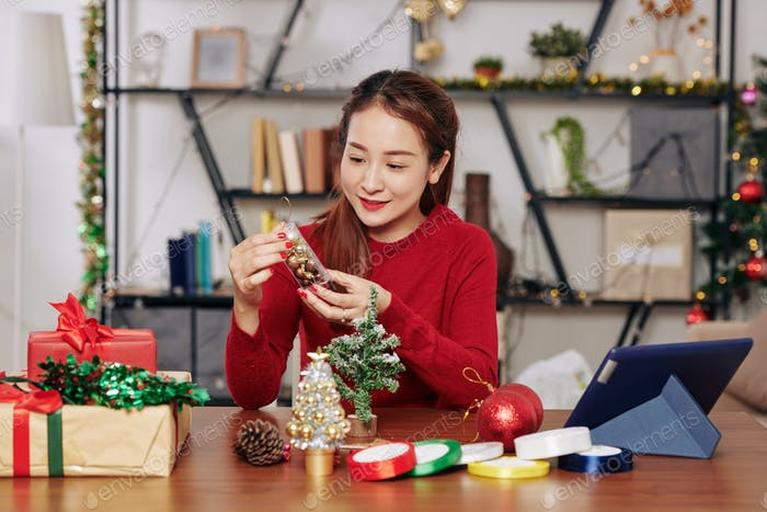 Woman with baubles package