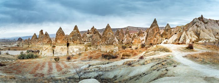 Landscape view of Unesco World Heritage, Cappadocia, Turkey under cloudy sky