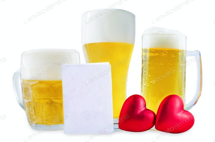 Glass of cold light beer with heart isolated for Valentine's day
