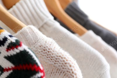 Winter clothes, close up and selective focus