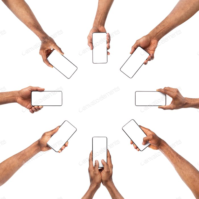 Collection of black male hands holding smartphone with empty screen