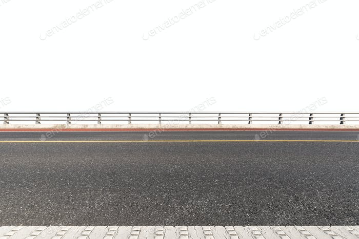 road with railings isolated on white