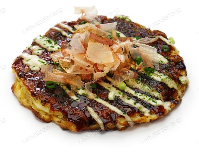 okonomiyaki, japanische herzhafte Pfannkuchen