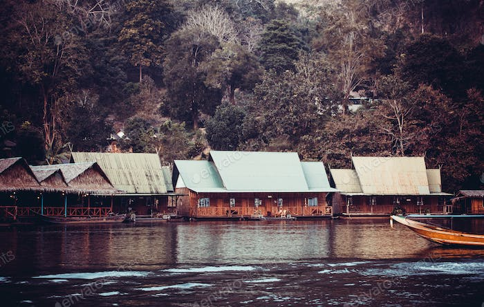 hotel on River Kwai in Kanchanaburi province, Thailand.  Floatin