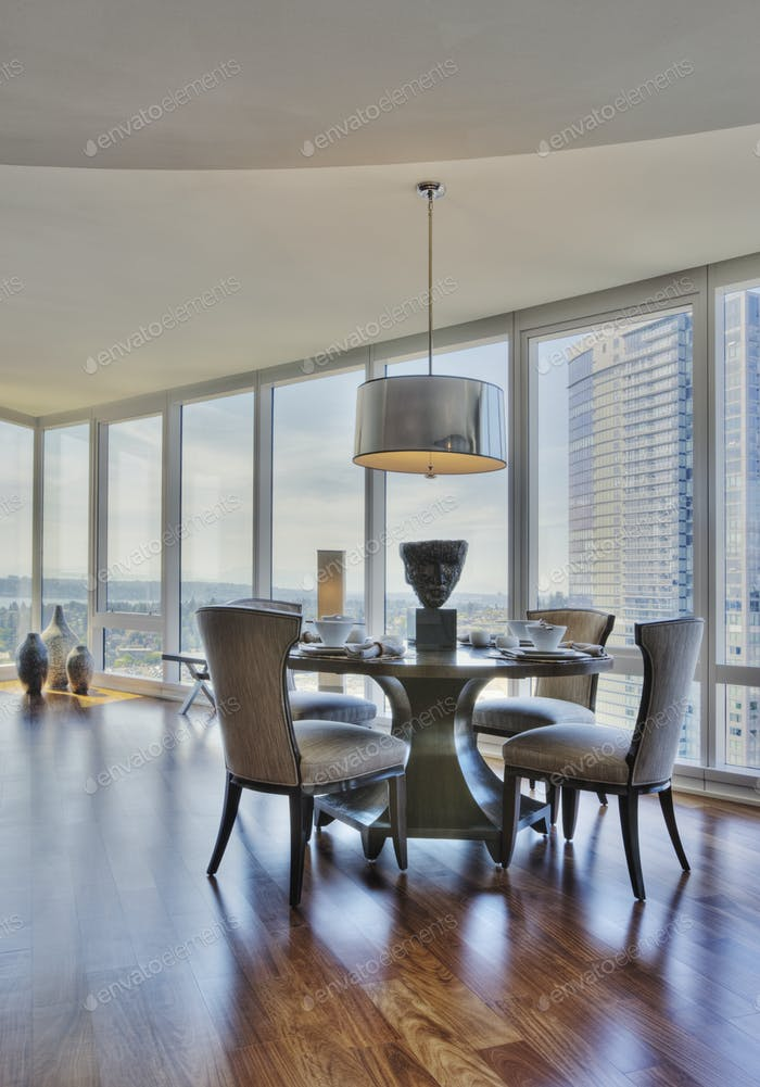 Dining room in luxury highrise apartment