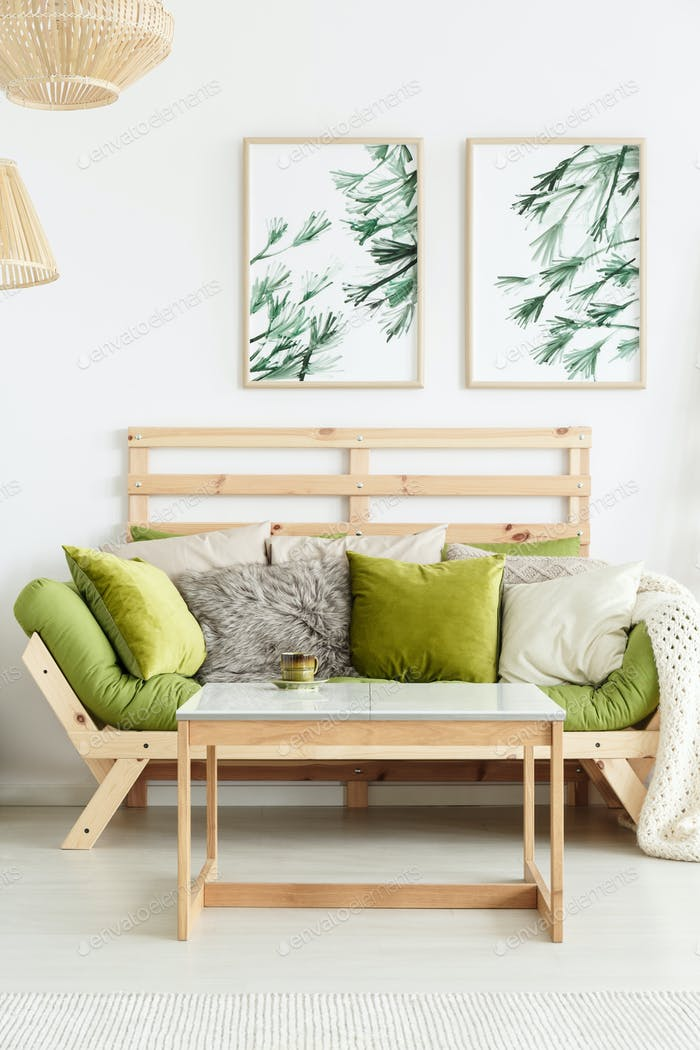 Wooden Sofa With Green Cushions Photo