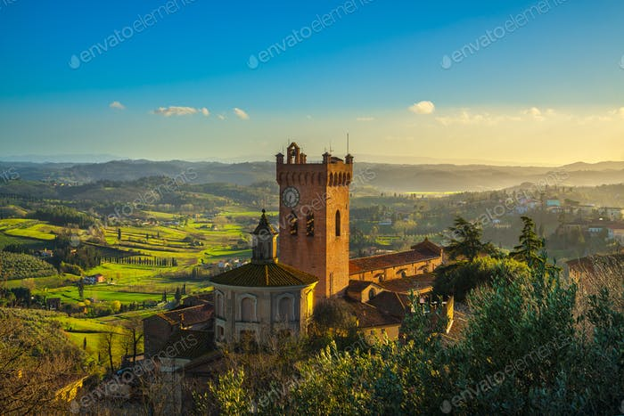 San Miniato bell tower of the cathedral. Pisa, Tuscany Italy Eur