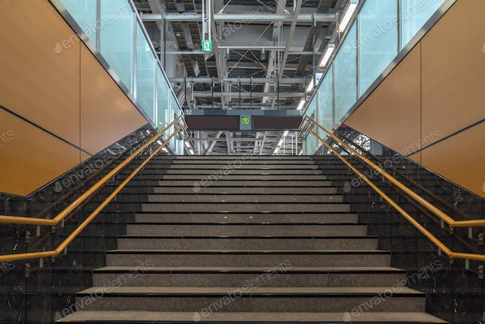 Staircase located in underground hall or subway, Low light speed shutter