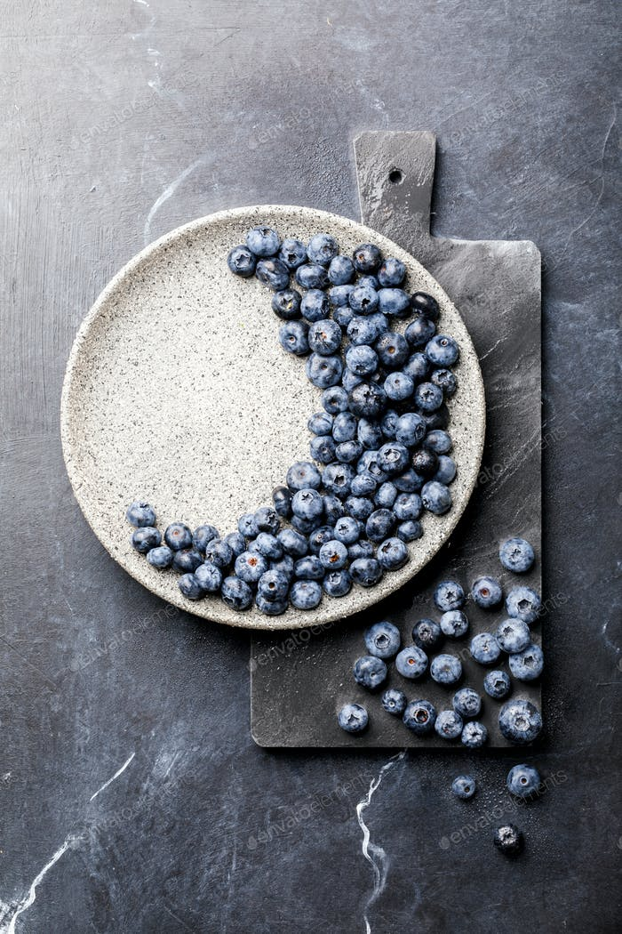 Fresh Blueberries .Concept  Healthy Food. Diet Nutrition .