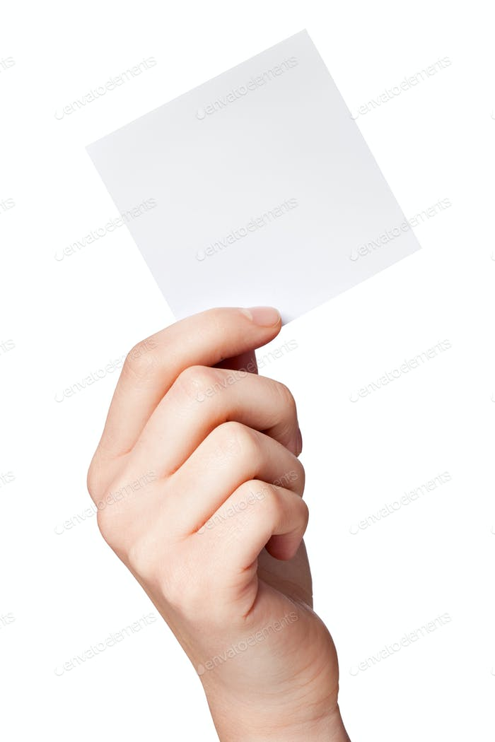 Hand of women holding blank paper label