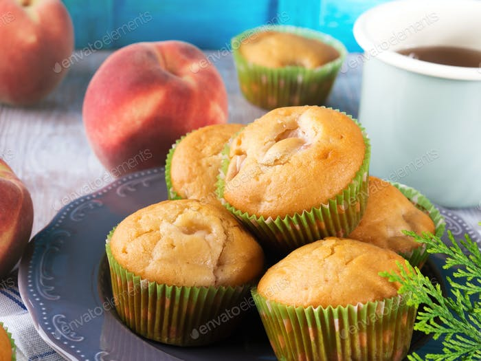 Delicious vegan spelt flour peach apple muffins
