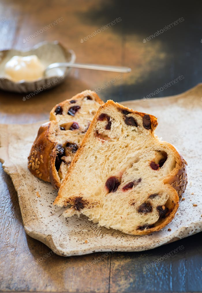 Sweet challah bread with chocolate and cranberries