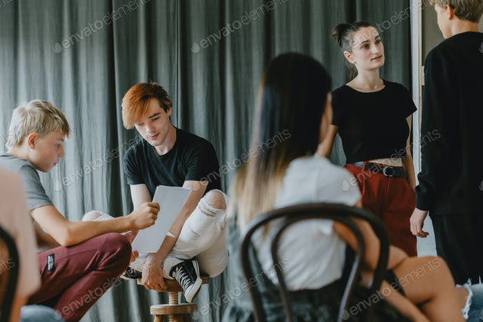 Teenagers in theatre club