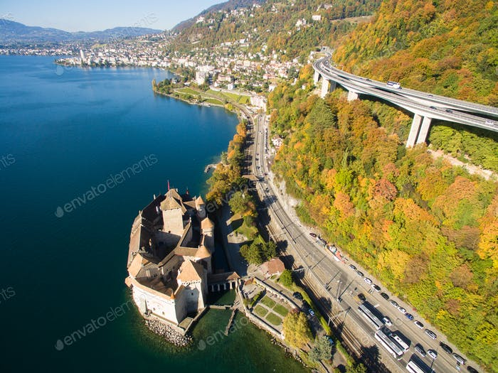 Aerial view of Chillon Castle - Chateau de Chillon in Montreux, Switzerland