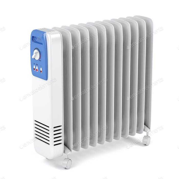 Electric oil filled heater on white background