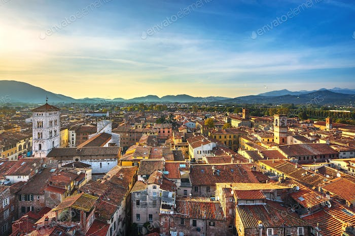 Lucca panoramic aerial view of city and San Michele Cathedral. Tuscany, Italy