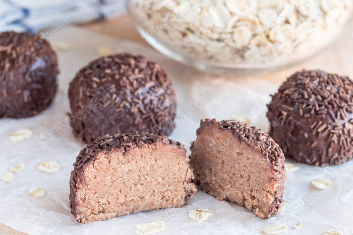 Swedish sweets Arrack balls, made from cookie crumbs, cocoa, but