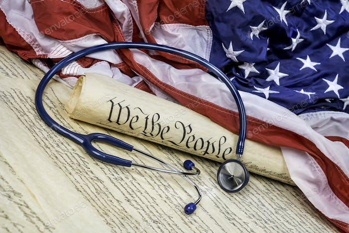 Constitution, Gavel and stethoscope
