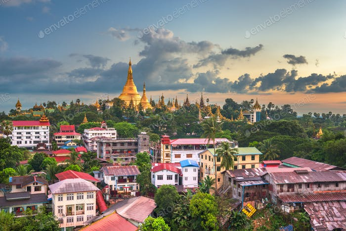 Yangon, Myanmar skyline with Shwedagon Pagoda