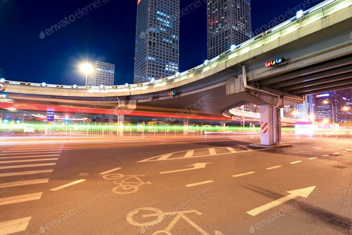 light trails on the beijing international trade bridge