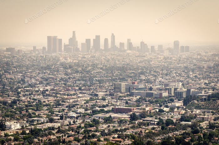 Aerial View of Downtown Los Angeles from Griffith Park