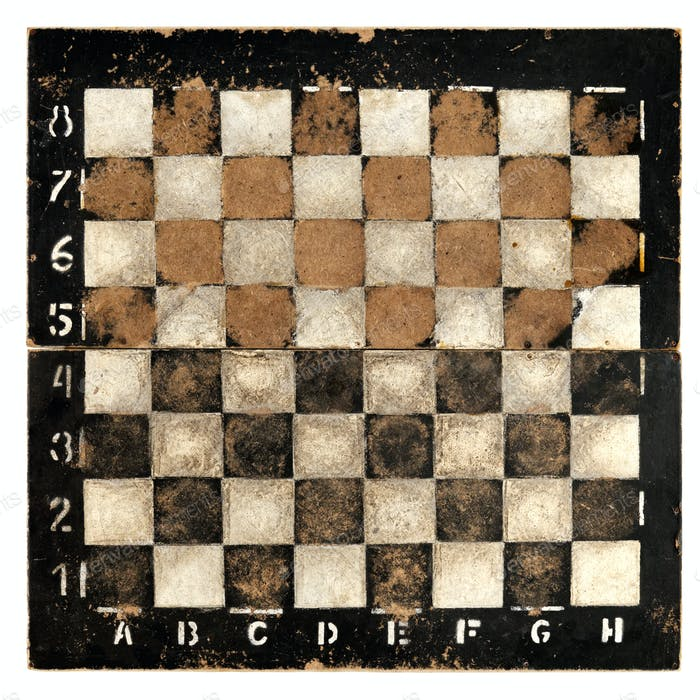 Old empty chess board