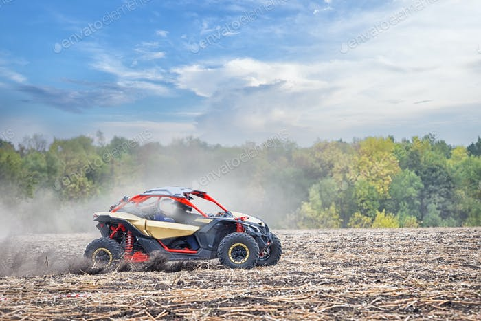 Quad bike with two sportsman rushes through field in the dust