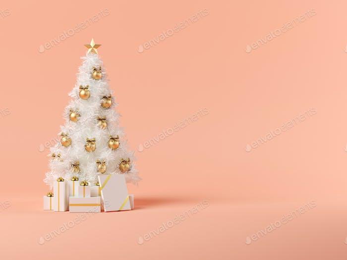Weißer Weihnachtsbaum auf rosa Hintergrund 3D Illustration