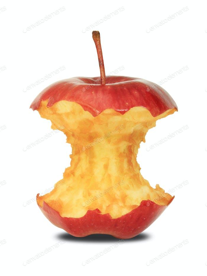 Roter Apfelkern auf weißem Hintergrund