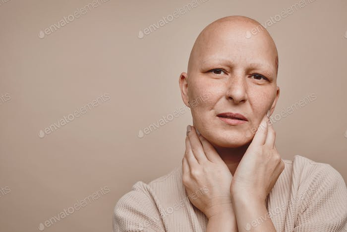 Beautiful Bald Woman in Studio