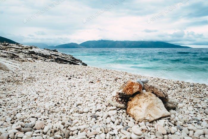 Landscape of pebble stones beach