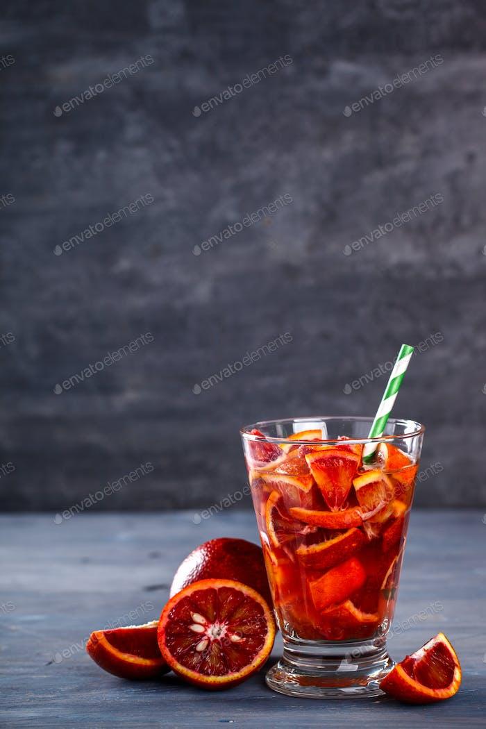 Detox Infused Water with orange.Healthy Beverage.