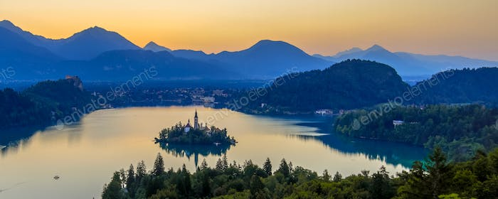 Aerial early morning view of lake Bled