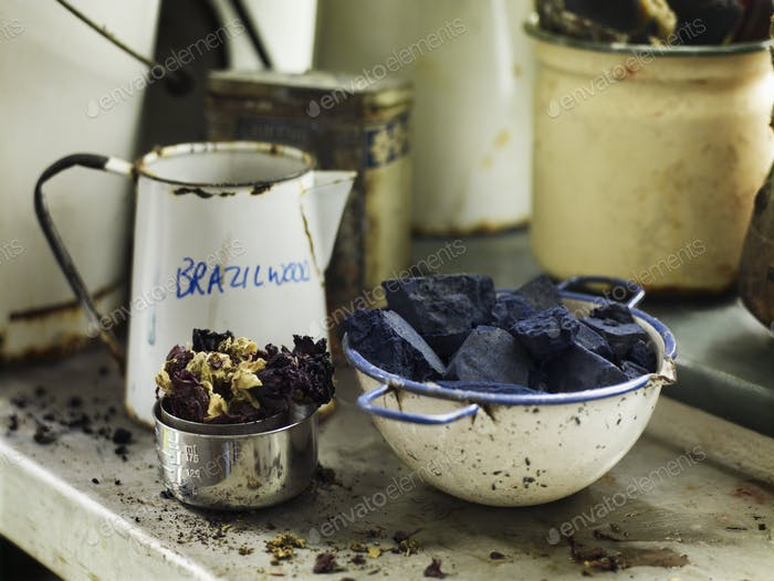 Ingredients in a bowl to create a natural dye. Indigo pigment in blocks.