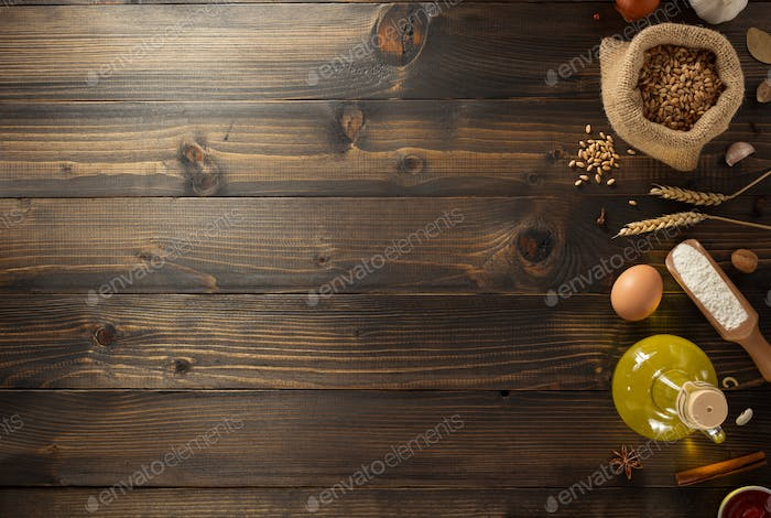 bakery ingredients on wood